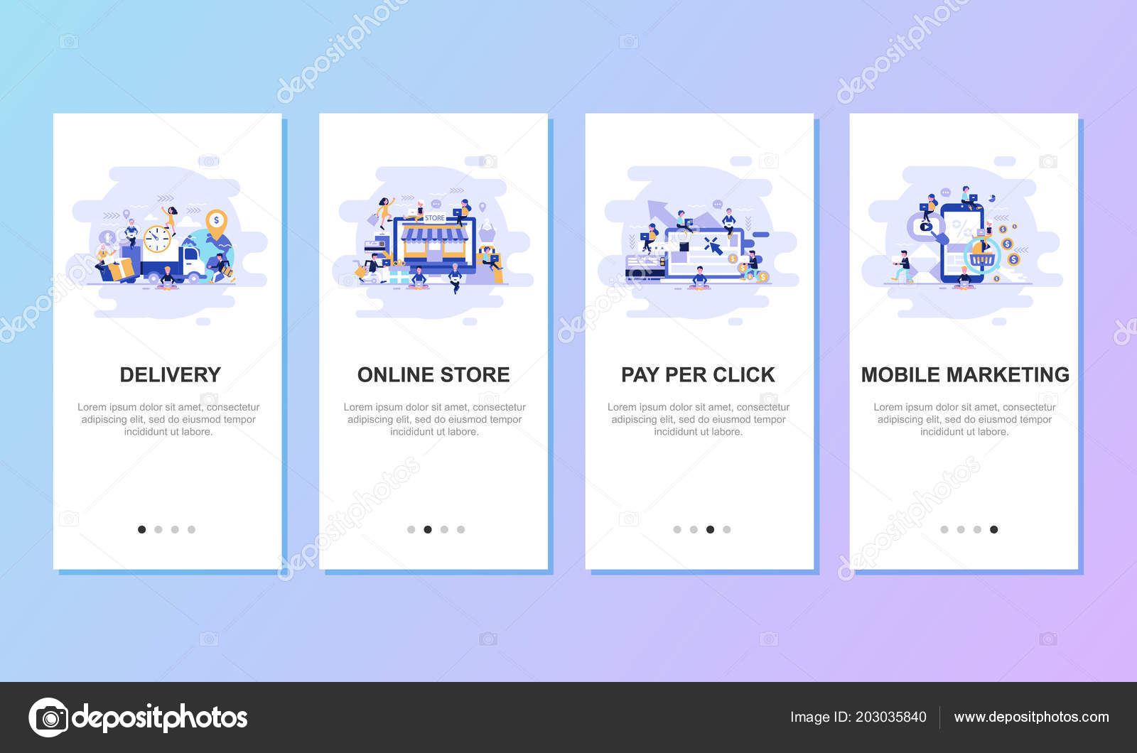 Onboarding Screens User Interface Kit Mobile App Templates Concept Modern Stock Vector C Alexdndz 203035840
