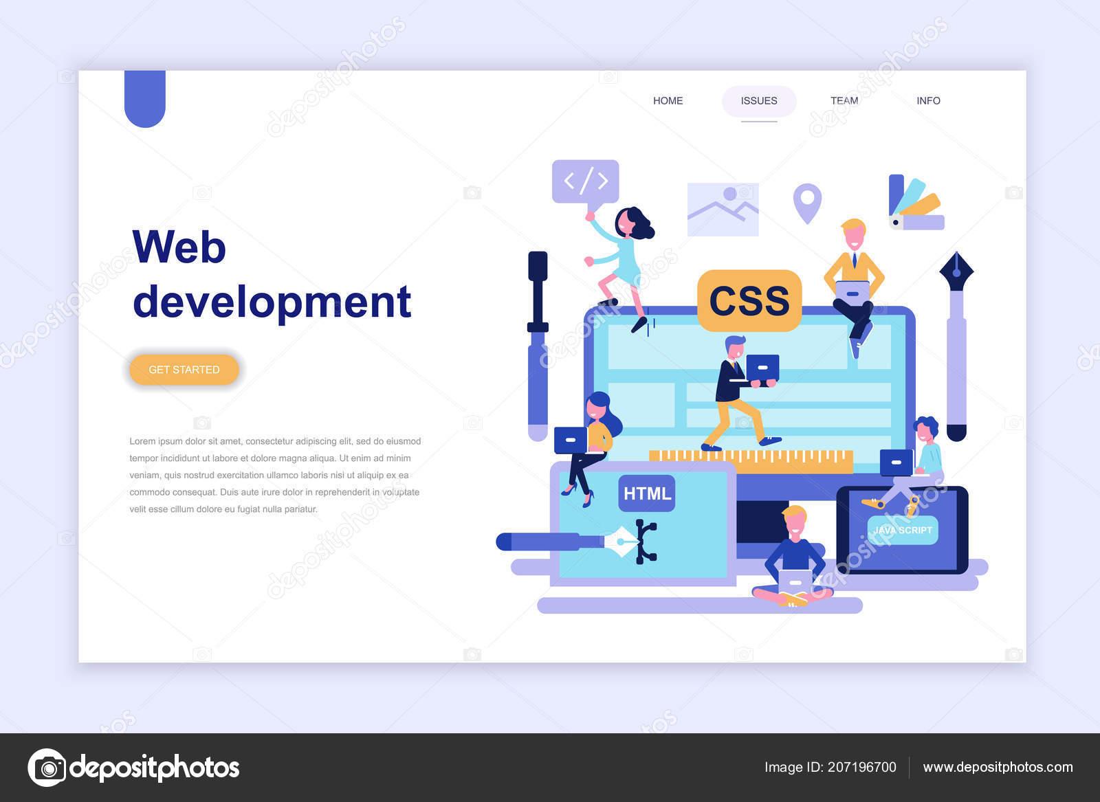 Landing Page Template Web Development Modern Flat Design Concept Learning Stock Vector C Alexdndz 207196700