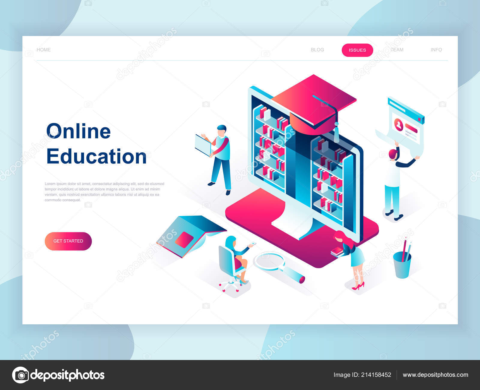 Modern Flat Design Isometric Concept Online Education Banner Website Isometric Stock Vector C Alexdndz 214158452