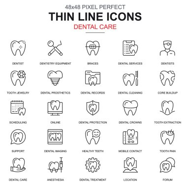 Thin line dental care, dentistry equipment icons set for website and mobile site and apps. Contains such Icons as Dentist, Braces. 48x48 Pixel Perfect. Linear pictogram pack. Vector illustration.