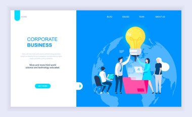 Modern flat design concept of Corporate Business with decorated small people character for website and mobile website development. UI and UX design. Landing page template. Vector illustration.