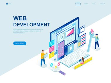 Modern flat design isometric concept of Web Development decorated people character for website and mobile website development. Isometric landing page template. Vector illustration.