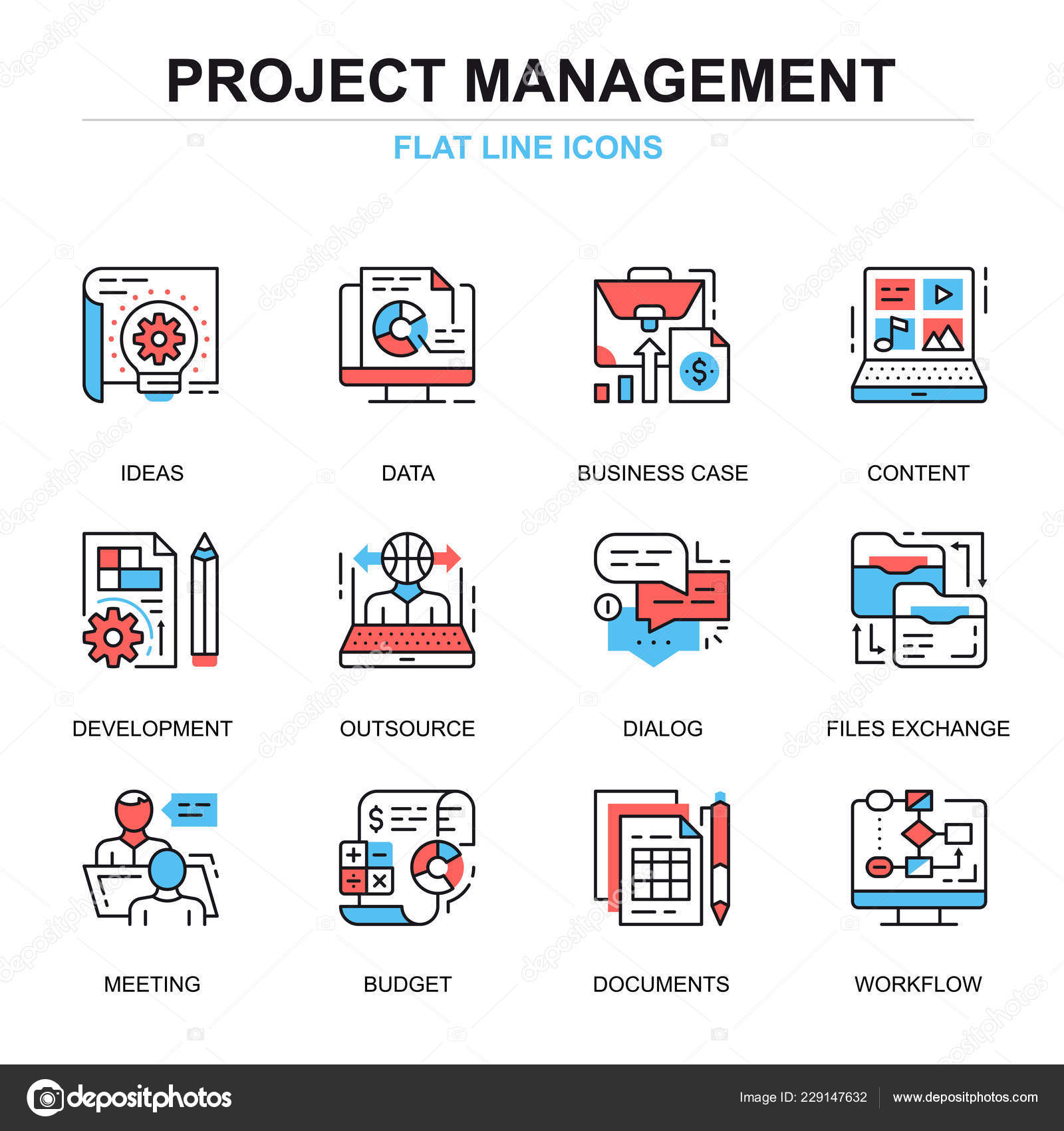 Flat Line Project Management Icons Concepts Set Website Mobile Site