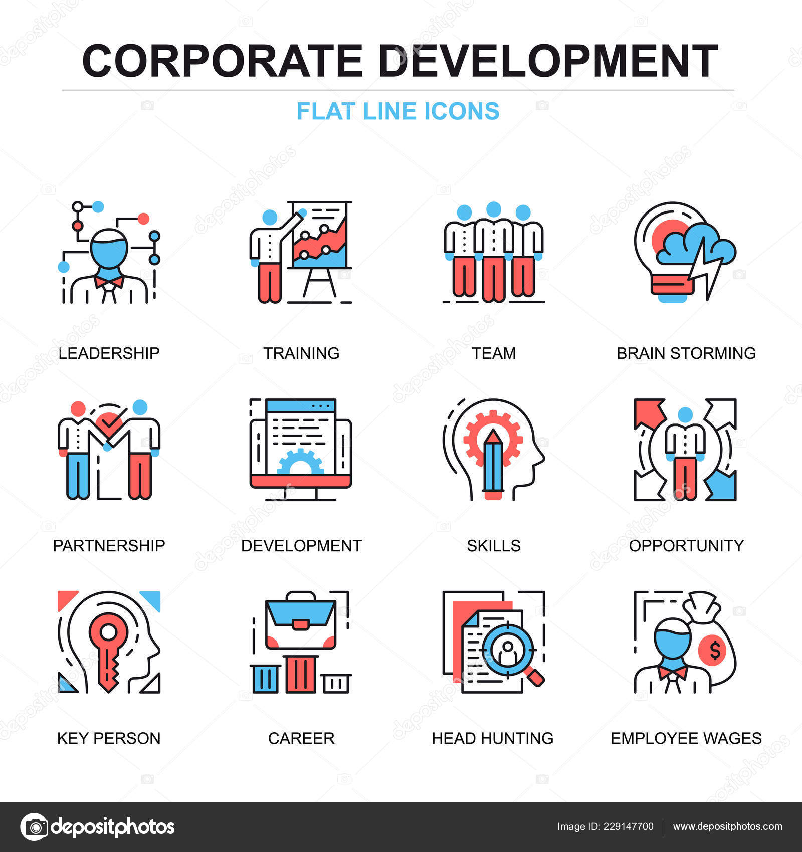 Flat Line Corporate Development Icons Concepts Set Website