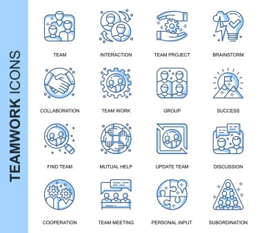 Thin Line Teamwork Related Vector Icons Set for Website and Mobile Site and Apps. Outline icons design. Contains such Icons as Cooperation, Collaboration, Team Meeting and more. Linear Pictogram Pack. icon
