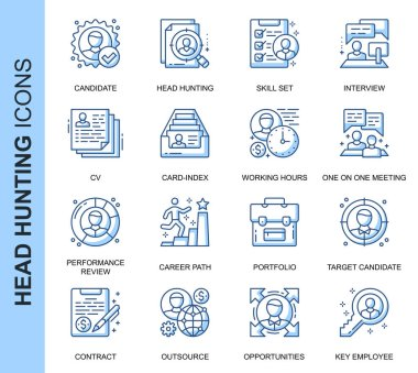 Thin Line Head Hunting Related Vector Icons Set for Website and Mobile Site and Apps. Outline icons design. Contains such Icons as Candidate, CV, Card Index, Outsource and more. Linear Pictogram Pack. icon