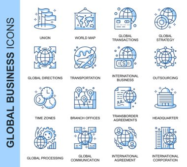 Thin Line Global Business Related Vector Icons Set for Website and Mobile Site and Apps. Outline icons design. Contains such Icons as Global Strategy, Agreements and more. Linear Pictogram Pack. icon