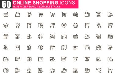 Online shopping thin line icon set. Internet marketplace outline pictograms for website and mobile app. Online order and delivery simple UI, UX vector icons. 48x48 pixel perfect linear pictogram pack. icon