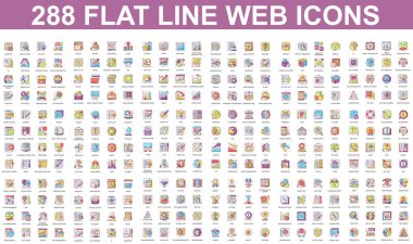 Bundle vector flat line icons concept. Contain such Icons as Teamwork, People, Finance, Analysis, SEO, Business, Money, Support, Real Estate and more. UI, UX vector icon. Color linear pictogram pack. icon