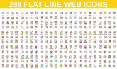 Bundle vector flat line icons concept. Contain such Icons as People, Marketing, Security, Business, Education, Commerce, Delivery, Finance and more. UI, UX vector icon. Color linear pictogram pack. icon