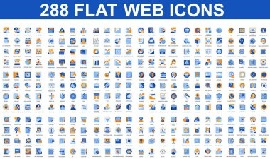 Bundle vector flat icons concept. Contain such Icons as Teamwork, People, Finance, Analysis, SEO, Business, Money, Support, Real Estate and more. UI, UX vector icon. Flat conceptual pictogram pack. icon