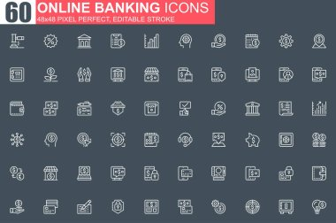 Online banking thin line icon set. Credit card payment outline pictograms for website and mobile app GUI. Financial services simple UI, UX. Grid 48x48 pixel perfect linear vector icons pack. icon