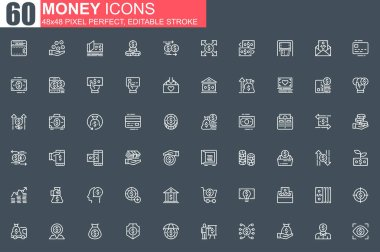 Money thin line icon set. Money management and saving outline pictograms for website and mobile app GUI. Capital investment simple UI, UX. Grid 48x48 pixel perfect linear vector icons pack. icon