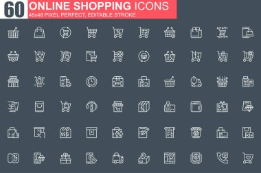 Online shopping thin line icon set. Internet marketplace outline pictograms for website and mobile app. Online order and delivery simple UI, UX. Grid 48x48 pixel perfect linear vector icons pack. icon