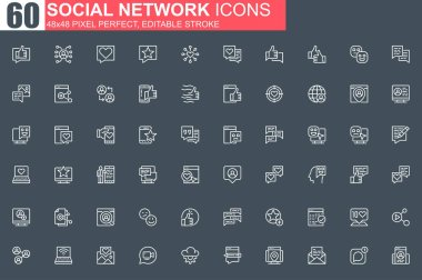 Social network thin line icon set. Online people communication outline pictograms for web and mobile app GUI. Messaging service simple UI, UX. Grid 48x48 pixel perfect linear vector icons pack. icon
