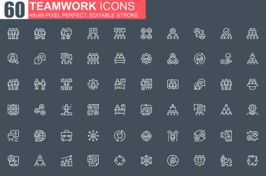 Teamwork thin line icon set. Business team collaboration outline pictograms for website and mobile app GUI. Human resource simple UI, UX. Grid 48x48 pixel perfect linear vector icons pack. icon