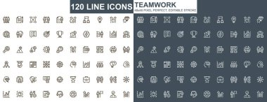 Teamwork thin line icons set. Corporate partnership and business team collaboration unique design icons. Businessman cooperation outline vector bundle. 48x48 pixel perfect linear pictogram pack. icon