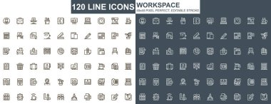 Workspace thin line icons set. Corporate workplace, coworking space unique design icons. Business workflow, corporate management outline vector bundle. 48x48 pixel perfect linear pictogram pack. icon