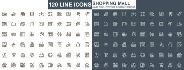 Shopping mall thin line icons set. Customer support, order and delivery service unique design icons. Online shopping platform outline vector bundle. 48x48 pixel perfect linear pictogram pack. icon