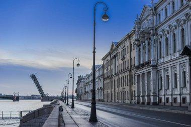 Broken bridges in St. Petersburg. Empty embankment. White nights in Petersburg. Cities of Russia. Architecture of Petersburg.