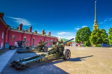 Cities of Russia. Summer day in St. Petersburg. Peter-Pavel's Fortress. Artillery installations. Guns. Petersburg Russia.