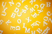 English letters on a yellow background. English letters. English alphabet.
