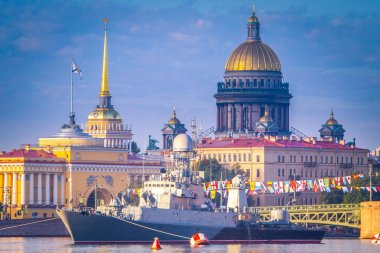 Saint Petersburg. Saint Isaac's Cathedral. Warships against the backdrop of the city Petersburg. Russia. Neva River. Military ships of Russia.
