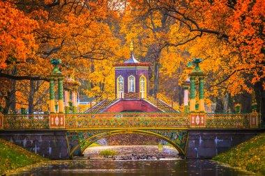view of beautiful Alexander Park in Tsarskoye Selo outside St. Petersburg in autumn