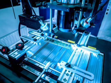 Automation of production. Soldering iron. Electric circuits. Microchips. Soldering iron tips of automated manufacturing soldering and assembly pcb board