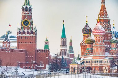 Moscow. Russia. Moscow Kremlin winter panorama. Spasskaya tower