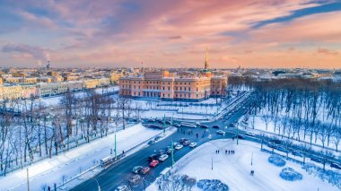 Saint-Petersburg. Russia. Winter sunset in St. Petersburg panora
