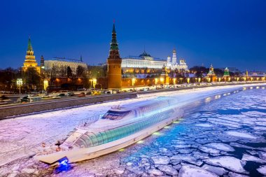 Russian Federation. Moscow. Panorama of Kremlin in winter. Grand