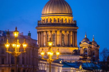 St. Petersburg. Russia. Isaakievsky cathedral. Shining city ligh