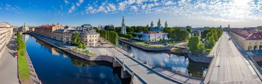 Panorama of St.-Petersburg on a summer day. Channels SPb. View of the city center from a height. Russia. The bridge over the Kryukov canal. St. Nicholas Naval Cathedral in St. Petersburg.