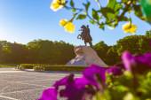 Slunečné počasí v Petrohradě. Památník v Petrohradě. The