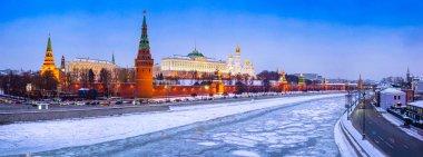 Panorama of winter Moscow. Сapital of Russia. Kremlin, Kremlin