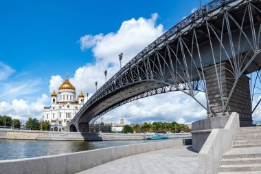 Moscow. Russia. Cathedral Of Christ The Saviour. The bridge leads to the Church. Religious building. architecture of Moscow. Patriarchal bridge over the river Moscow. Symbol of coming to faith.