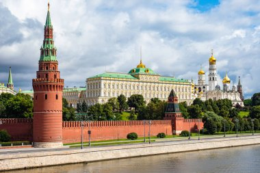 Moscow. Russia. Kremlin. Grand Kremlin Palace. Embankment near Red Square. The walls and towers of the Kremlin. Tour of Moscow. Moscow on a summer day. Sights of Russia. Tours to Russia.