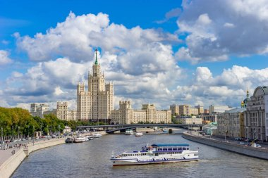 Moscow. Panorama of the capital of the Russian Federation. Boat trips on the river Moscow. High-rise building on Kotelnicheskaya embankment. Architecture of Moscow. The capital of Russia. Summer day.