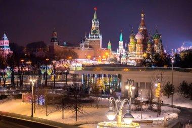 Evening Moscow. Business card of Russia. Kremlin. Kremlin wall.