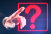 Man presses a question mark. Concept - finger clicks on the touch screen. Hand. Question mark as a symbol of uncertainty. Concept - counseling. Consulting services for business. Answers on questions.