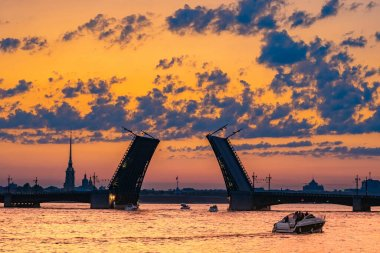 Saint Petersburg. Russia. White nights of St. Petersburg. Tourists admire the bridges. Drawbridges in St. Petersburg. Peter and Paul fortress on the background of the divorced Palace bridge.