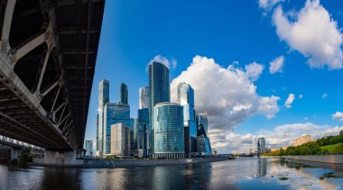 Moscow. Russia. Business quarter Moscow city. Modern architecture. Skyscrapers near the embankment. Moscow area with high-rise buildings. Embankment of Taras Shevchenko. Russia bridge. Russia europe.
