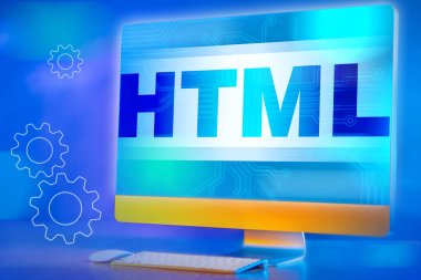 Html logo on the monitor screen. HTML icon on a blue background. Bright concept of programming languages. Computer program. Software development.