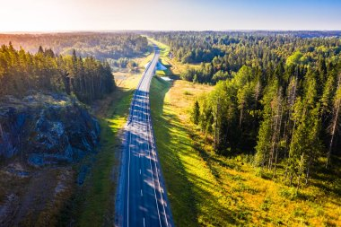 Road to Karelia. Pine trees and large rocks next to the road. Saint-Petersburg. Empty highway. Travel by car in Russia. The highway goes beyond the horizon. Rest away from the city. Nature of Russia.