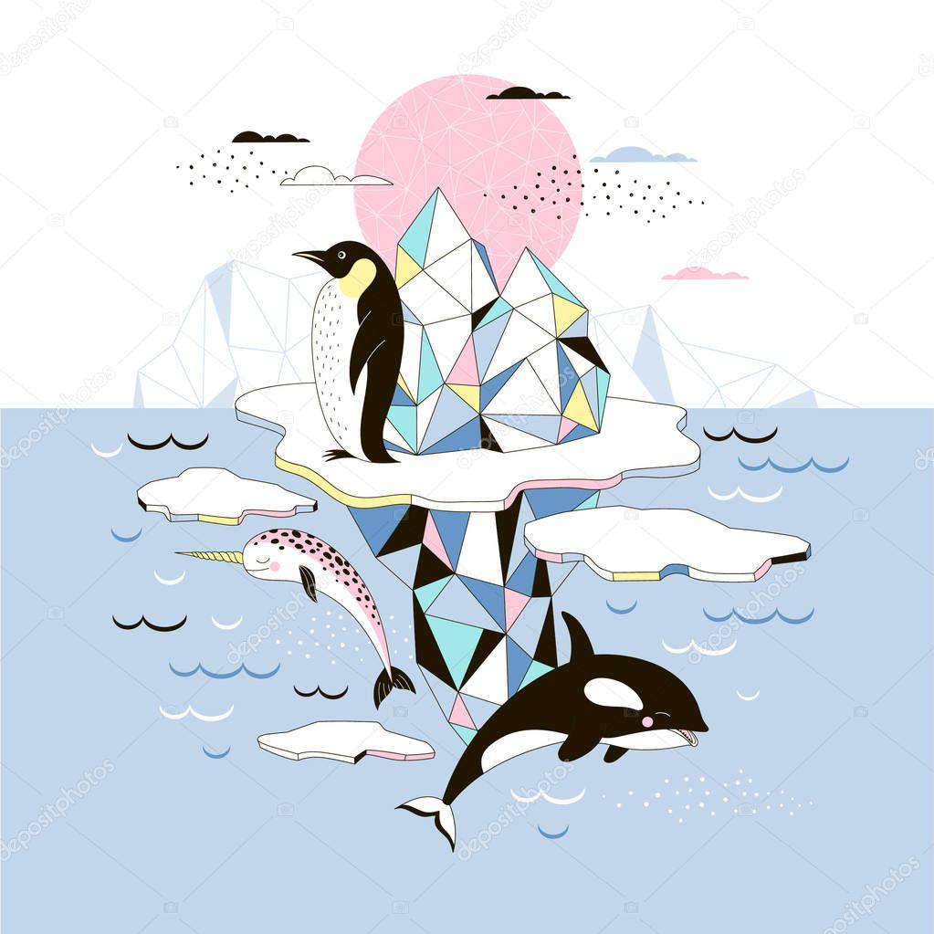 magic Arctic animal poster, Scandinavian style