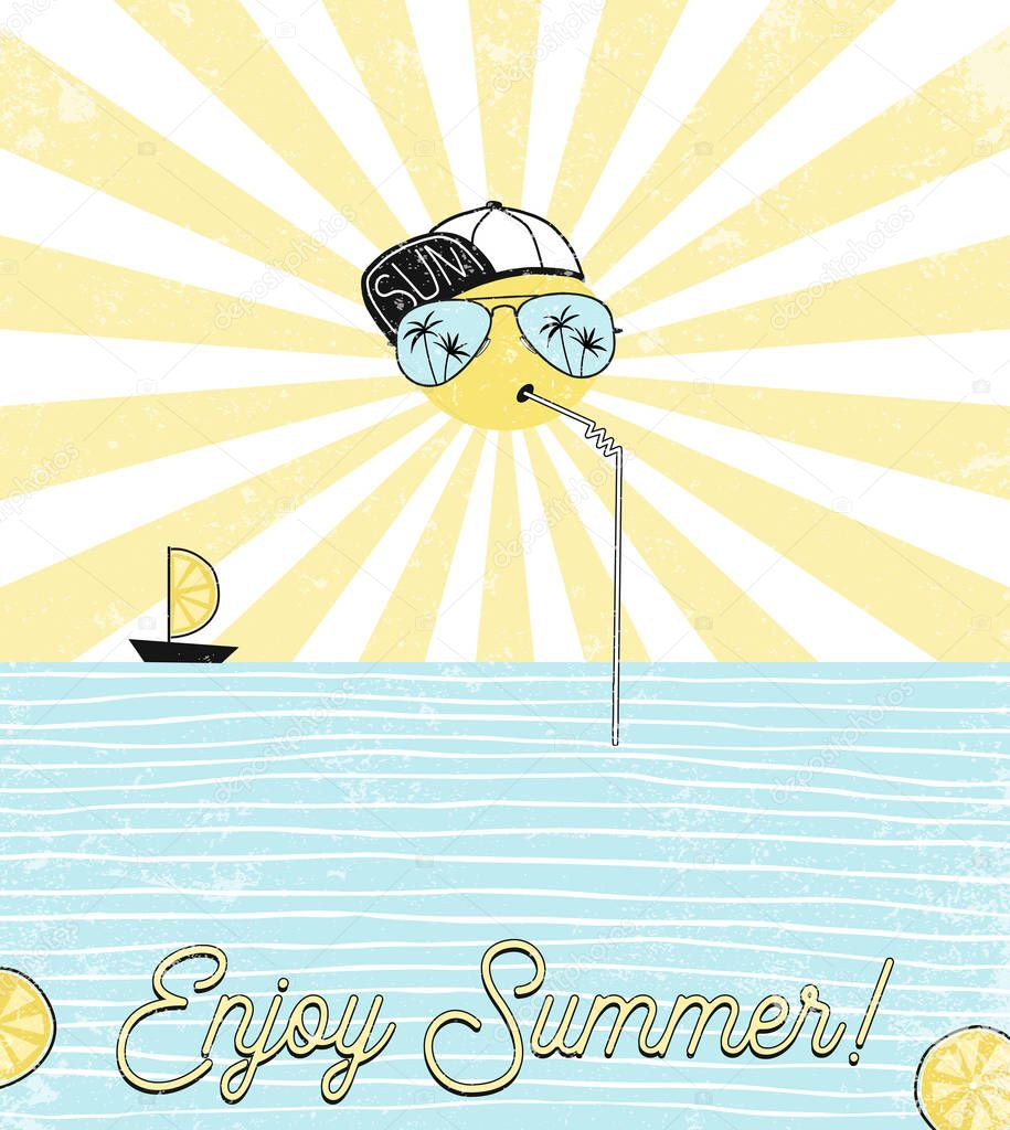 sun dressed up in cap and sunglasses drinking sea cocktail, summer design