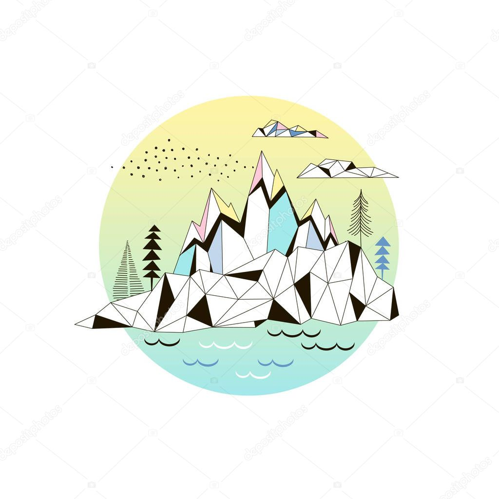 Arctic nature poster in graphic style