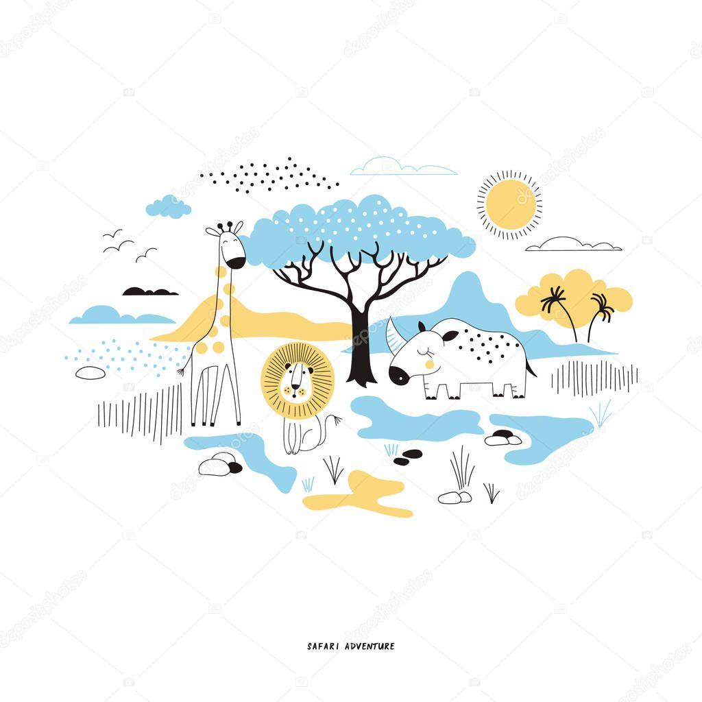 decorative safari illustration in bright colors