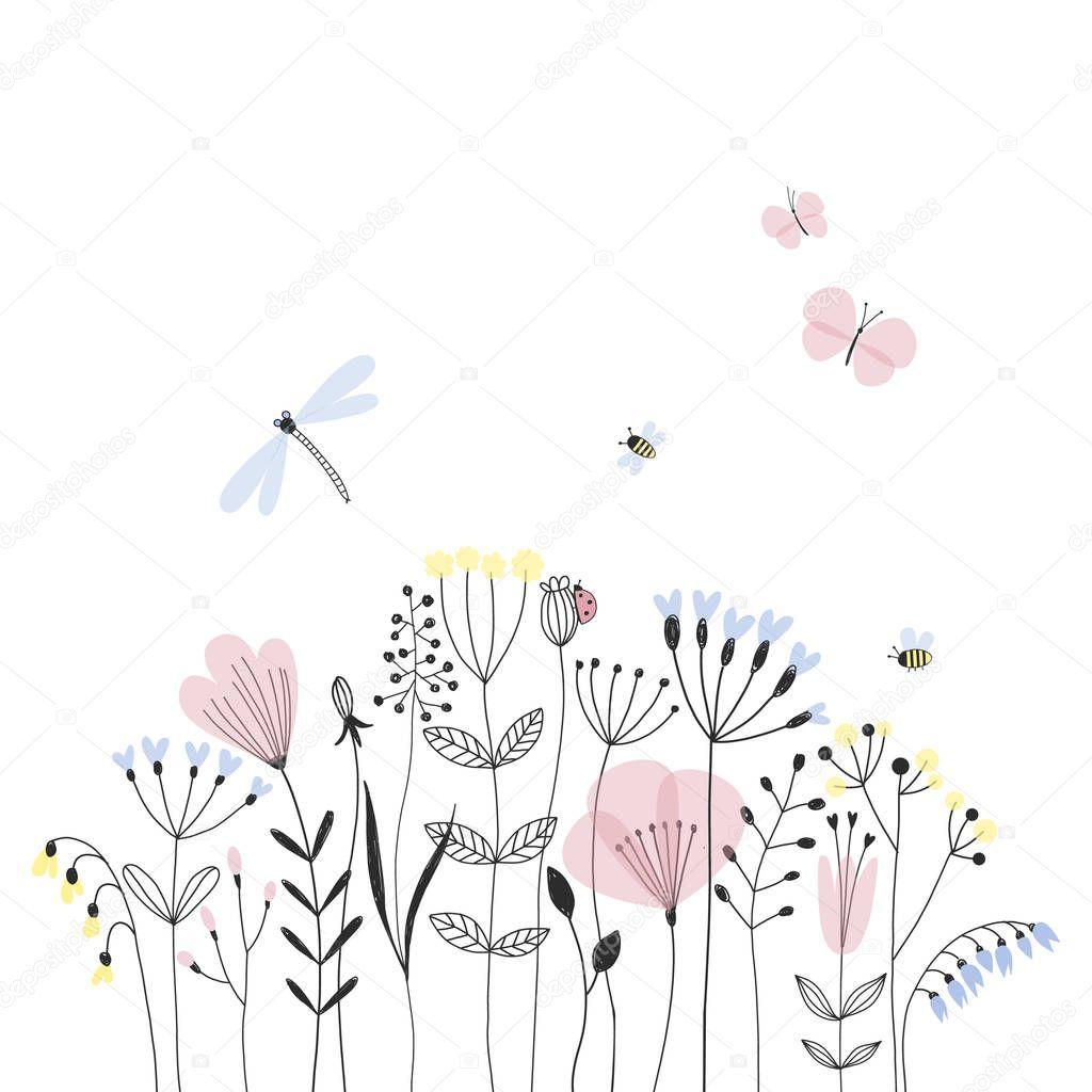summer flower field tender illustration